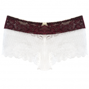 LL Burgundy Cream Lace Boyshort